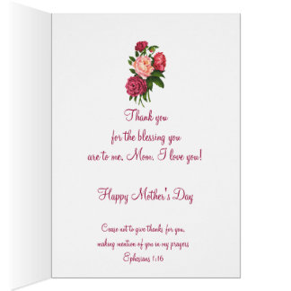 Vintage Peony Flower Scripture for Mother's Day Greeting Card