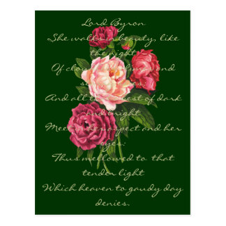 Vintage Peony Flowers Lord Byron Love Poem Postcard