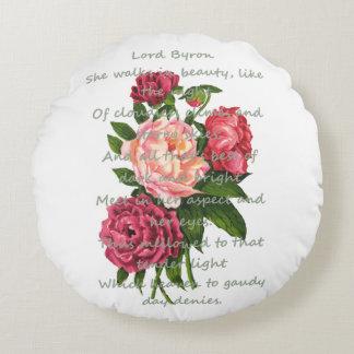 Vintage Peony Flowers & Romantic Byron Poem Round Pillow