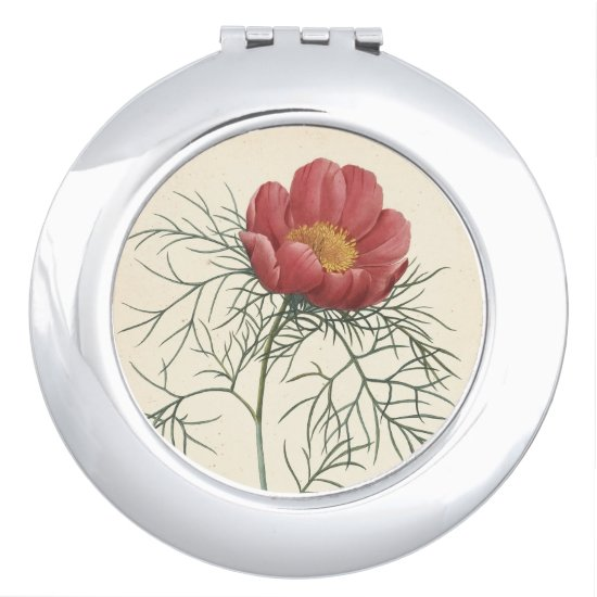Vintage Peony Watercolors Birthday Compact Mirror