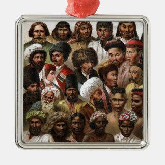 Vintage 'Peoples of Asia' C19 engraving Metal Ornament