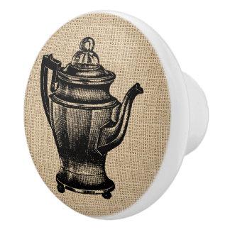 Vintage Percolator on burlap - cabinet knob Ceramic Knob