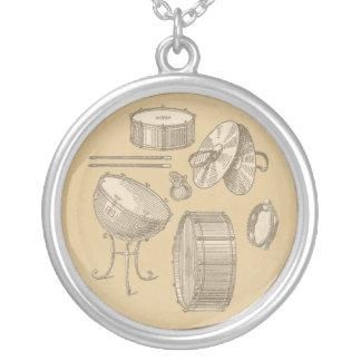 Vintage Percussion Instruments on Parchment Look Round Pendant Necklace