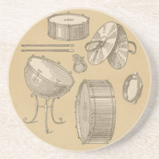 Vintage Percussion Instruments on Parchment Look Sandstone Coaster
