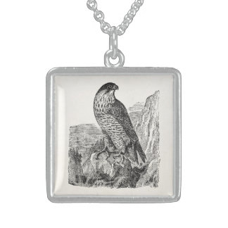 Vintage Peregrine Falcon Personalized Retro Birds Sterling Silver Necklace