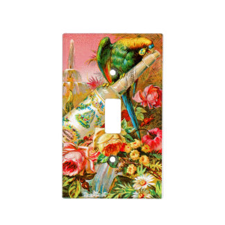 Vintage Perfume Ad with Parrot Light Switch Cover