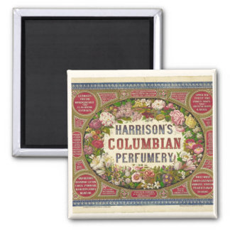 Vintage Perfume Label 2 Inch Square Magnet