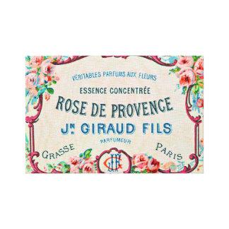 Vintage Perfume Label Paris Rose Essence Canvas Print
