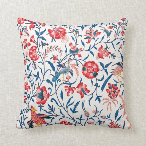 Vintage Persian Horror Vacui Floral Birds Pattern Throw Pillow