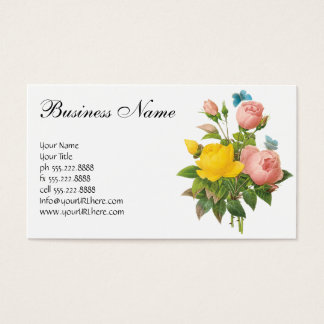 Vintage Persian Yellow Rose Tea Roses by Redoute Business Card