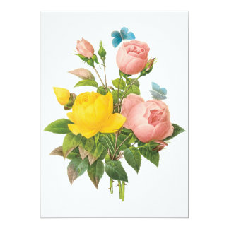 Vintage Persian Yellow Rose Tea Roses by Redoute Card