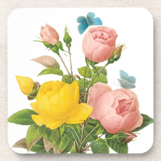 Vintage Persian Yellow Rose Tea Roses by Redoute Drink Coaster
