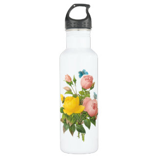 Vintage Persian Yellow Rose Tea Roses by Redoute Water Bottle