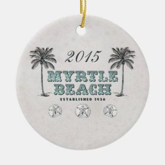 Vintage personalizado Myrtle Beach Carolina del Adorno Navideño Redondo De Cerámica