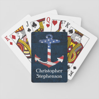 Vintage Personalized American Flag Anchor Nautical Poker Cards