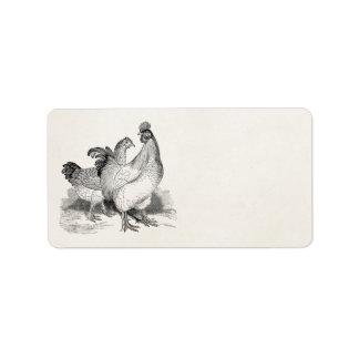 Vintage Personalized Chicken Rooster Cochin Birds Address Label