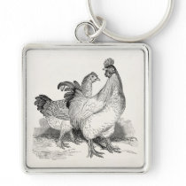 Vintage Personalized Chicken Rooster Cochin Birds Keychain