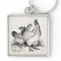 Vintage Personalized Chicken Rooster Cochin Birds Keychain