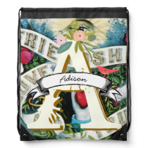 Vintage Personalized Friendship Love Drawstring Backpack