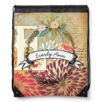 Vintage Personalized Garland Heart Distressed Drawstring Bag