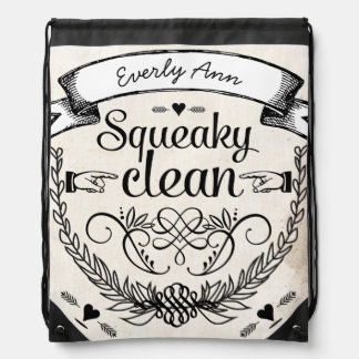 Vintage Personalized Garland Squeaky Clean Drawstring Bag