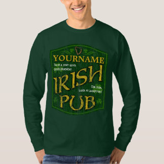 Vintage Personalized Irish Pub Sign Long Sl. Tee