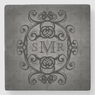Vintage personalized monogram black and gray stone beverage coaster