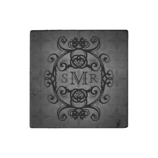 Vintage personalized monogram black and gray stone magnet