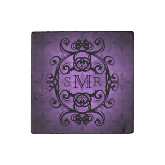 Vintage personalized monogram purple stone magnet