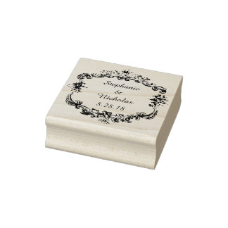 Vintage Personalized Text Frame Rubber Stamp