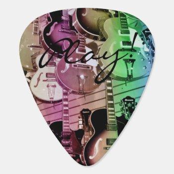 Vintage Personalized Wall Of Guitars Guitar Pick by UROCKDezineZone at Zazzle