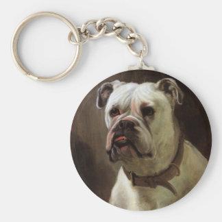 Vintage Pet Animals, Boxer Puppy Dog Portrait Keychain