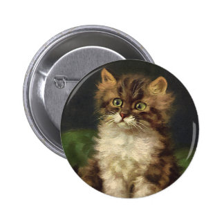 Vintage Pet Animals, Cute Striped Tabby Cat Kitten 2 Inch Round Button