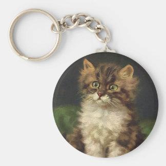 Vintage Pet Animals, Cute Striped Tabby Cat Kitten Keychain
