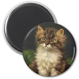 Vintage Pet Animals, Cute Striped Tabby Cat Kitten 2 Inch Round Magnet