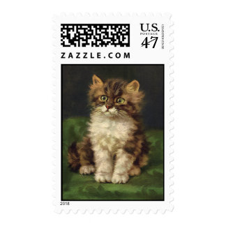 Vintage Pet Animals, Cute Striped Tabby Cat Kitten Postage Stamp