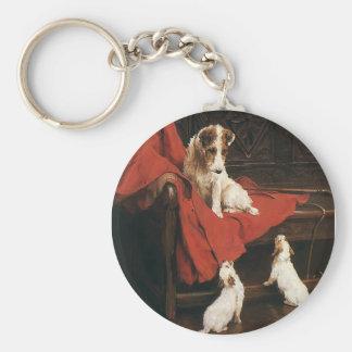 Vintage Pet Animals, Jack Russel Terrier Dogs Basic Round Button Keychain