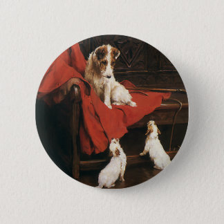 Vintage Pet Animals, Jack Russel Terrier Dogs Button