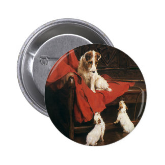 Vintage Pet Animals, Jack Russel Terrier Dogs 2 Inch Round Button