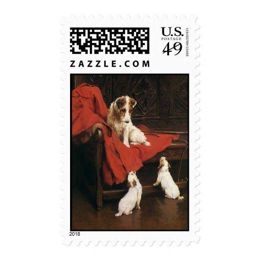 Vintage Pet Animals, Jack Russel Terrier Dogs Postage Stamps