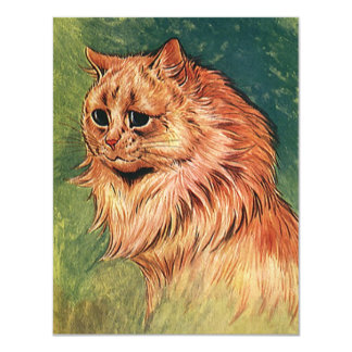Vintage Pet Animals, Long Haired Orange Cat Card