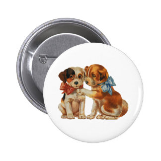 Vintage Pet Animals, Puppy Love Puppies with Bows Button