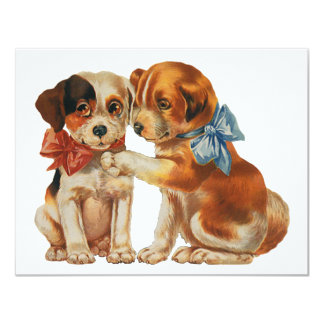 Vintage Pet Animals, Puppy Love Puppies with Bows Card