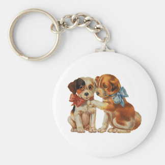 Vintage Pet Animals, Puppy Love Puppies with Bows Keychain