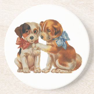 Vintage Pet Animals, Puppy Love Puppies with Bows Sandstone Coaster