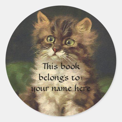 Vintage Pet Animals, Tabby Cat Kitten Bookplate Round Stickers