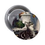 Vintage Pet Animals, Tabby Cat Kitten Butterfly Pin