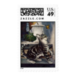 Vintage Pet Animals, Tabby Cat Kitten Butterfly Stamps