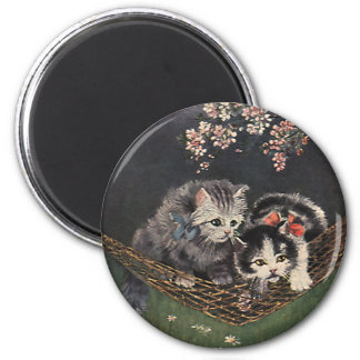 Vintage Pet Animals, Tabby Cats, Kittens Hammock 2 Inch Round Magnet