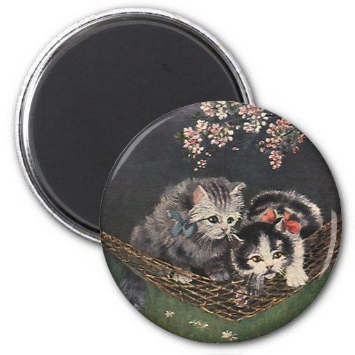 Vintage Pet Animals, Tabby Cats, Kittens Hammock Fridge Magnet
